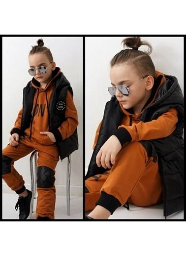 Quzucuk Kids Erkek Çocuk Yelekli Kahverengi Eşofman Takım Renkli